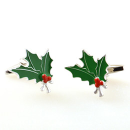 Hot Selling New Christmas Series Cufflink- Christmas Tree Leaf- Green