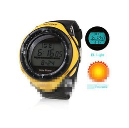 Wholesale-Boys Sports Watch Solar Power Digital Multi-Functional Men Rubber Silicone Band Wrist Watch LED Display Alarm Clock Male Hour