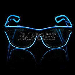 Wholesale-pink green blue yellow red el glasses El Wire Fashion Neon LED Light Up Shutter Shaped Glasses Rave Costume Party