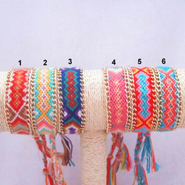 Gold Plated Chain Bracelet Multicolor Rainbow Chunky Rope Braided Friendship Handmade Manual Weaving Geometric Bracelet