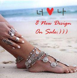 Wholesale 1 pair new Gypsy Antique tibetan Silver Turkish Coin barefoot sandals sandbeach wedding bridal Anklet Bracelet chain trible ethnic