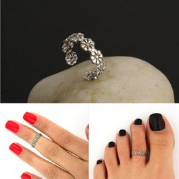 Alloy Rings Fashion Wommen Summer Brief Vintage Antique Silver Plated Flowers Toe Rings Knuckle Rings Jewelry Wholesale Drop Shipping SR391