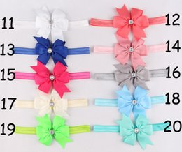Baby Ribbon Butterfly Flower Headbands With Rhinestone Girl Elastic Hair Bow Hairbands Children Hair Accessories Christmas Hair Ornaments