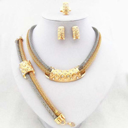 Fashion 24K Gold And Platinum Plated Clear Austria Crystal Rhinestone Necklace Earrings Bracelet Ring Wedding Bridal Jewelry Set 713