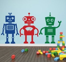 Cartoon Nursery Wall Decal Boys Room Art Decor Sticker three Robots
