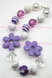 Purple Sunflower Girls Chunky Girls Big Bead Girls Necklace Chunky Bubblegum Necklace for kids CB235