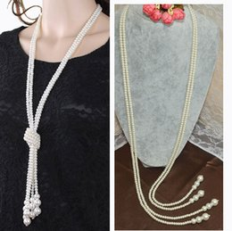 Wholesale Long Pearl Necklace Designs - Wholesale-Promotion Item! 2015 New Design Fashion White Charms Artificial Chain Simulated 760mm Long Pearls Necklace Gold and Silver Tone