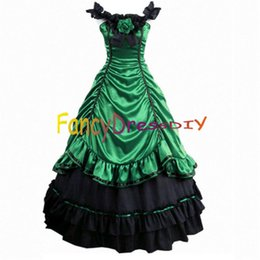 Wholesale Womens Gothic Lolita Victorian Southern Belle Gowns Halloween Costumes for Women Adult Princess Dress Customized V086