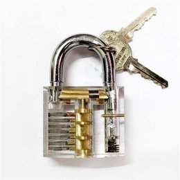 Wholesale New Transparent Practice Padlocks Cutaway Inside View Locksmith Tools Door Lock Pck Lock Smith Tools Trainer Skill w keys