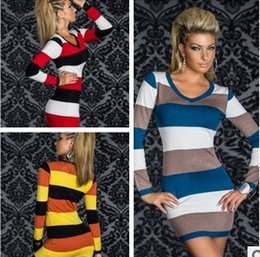 Wholesale Sexy Skirt Mini Lingerie - V collar long sleeved striped sexy underwear Sexy lingerie, M XL XXL Women long Sleeves clubwear dress club dress Slim skirt
