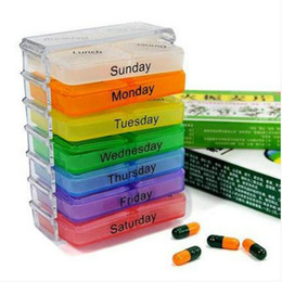 Wholesale 48 sets lot Medicine Weekly Storage Pill 7 Day Tablet Sorter Box Pills Boxes Container Case Organizer #1101
