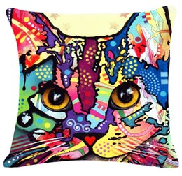 Wholesale Graffiti cats Colorful Rainbow cats decorative throw pillows case cool cute lovely beautiful cotton linen cushion cover animals newest