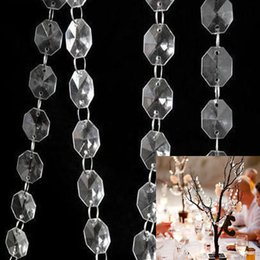 Wholesale M MM Acrylic Clear Crystal Octagonal Beaded Strand Garland Chains Curtain Hanging Wedding Christmas Tree Chandelier Decor