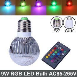 Bombilla LED RGB 2015 nueva llegada RGB Spotlight E27 GU10 9W CA 85-265V RGB LED de la lámpara LED con control remoto de múltiples colores rgb llevó la lámpara desde focos de colores fabricantes
