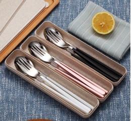 wholesale 304 stainless steel flatware cutlery set besteck tableware Chopsticks spoon fork long handle tableware three-piece suit student
