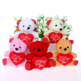 Wholesale-I LOVE YOU letter mini design baby girls teddy bears mixed color for wedding home charming key chain teddy bears