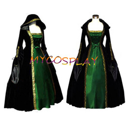 Wholesale- New Long Sleeve ROCOCO Ball Grown Gothic Medieval Victorian Mulit-colored Dress Costume With Golden Hem And Bandage