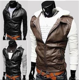 New men's Jacket Leather Jacket motorcycle Jacket Knitted sleeve hooded casual Jacket Coat 2154