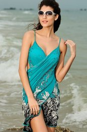 Wholesale Sexy Ladies Summer Swimwear Bikini Cover Ups Beach Sarong Wrap Dress Women Pareo skirts Open Back Swimwear