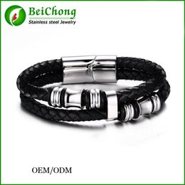 Wholesale BC Jewelry New Fashion Stainless Steel Rope China Men Bracelet Genuine Leather For Men Bracelet Men Jewelry BC