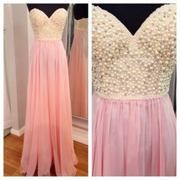 Wholesale Real Photo Elegant Long Style Pink Prom Dresses With Pearls Ruffle Cutie Evening Party Dress Gown vestidos prom dresses