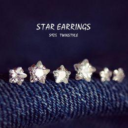 Wholesale tai02 Quintana sisters Ichiban Korean jewelry sterling silver CZ earrings pentagram earrings female silver jewelry popular