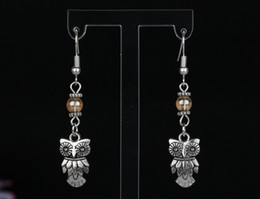 50Pair Vintage Lovely Owl &Glass Charms 925 Sterling Silver Drop Dangle Earrings For Girls Woman Dress Gifts DIY Jewelry M2723