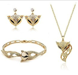 Wholesale Cute Bohemian Jewelry - Exquisite Luxury Jewelry Sets 18K Gold Plated Zircon Cute Fox Charm Necklaces +Earrings+Bracelets Jewelry Sets MG