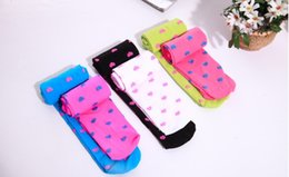 Wholesale Top quality baby girls legging socks candy color Strawberry heart shaped girl s Pantyhose children dance botton bace socks kids tights