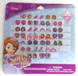 Pegatinas de la princesa de sofia online-Venta al por mayor Sofia la Frist Princess 30 hojas 720 pares de GIRL STICK ON EARRINGS pegatinas stick-on ring stickers