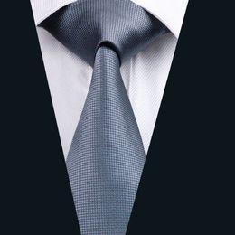 Mens Gray Silk Tie Jacquard Woven 8.5cm Width Mens Necktie Business Casual Party Formal D-0386
