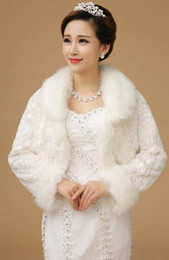Ivory Faux Fur Stole Wrap Wedding Shrug Bolero Bridal Shawl Long Sleeves Formal Dresses Jacket Hot Cheap In Stock