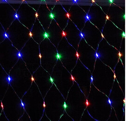 Rgb led net à vendre-Christmas LED Net Light 110-240V Multicolore 100 LED Web Fairy Lights 1.5m x 1.5m conduit lampe de corde pour la décoration de Noël Livraison gratuite