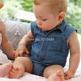 Wholesale-2015 summer Europe and America infant newborn children baby boys and girl jeans leotard Romper climbing clothes