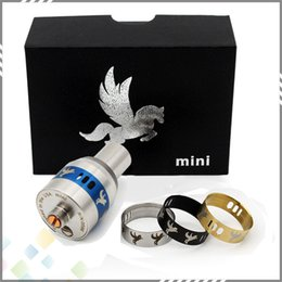 Wholesale Newest Mini Dark Horse Kit RDA Rebuildable Dripping Atomizer Vaporizer with Wide Bore Drip Tips Rings Dark horse Mini DHL Free