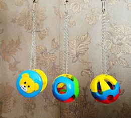 Wholesale 2015 New Pet Bird Ball Toys Bites Parrot Toy Chew Swing Cage Hanging Cockatiel Parakeet styles Plastic Toys