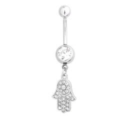 Wholesale Hot Ornate Hamsa Hand Charm antique silver plated navel piercing jewelry belly rings piercing belly button Rings For Women Jewelry