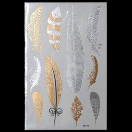 al por mayornueva moda del arte de cuerpo metlico tatoo mujeres feather diseador tatuajes