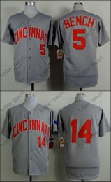 Wholesale Cincinnati Reds Jersey Johnny Bench Pete Rose Hemp Grey Stitched Authentic Retor Throwback Baseball Jersey Embroidery Logo