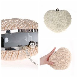 Elegant Full Pearls Crystal Beaded White Bridal Wedding Hand Bags Evening Party One Shoulder Small Clutch Dinner Bags Pink Heart Style Cheap