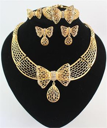 High Quality 18K Gold Plated Crystal Butterfly African Jewelry Necklace Bracelet Ring Earring Wedding Bridal Jewelry Sets