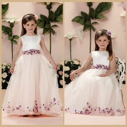Wholesale Sleeveless Mosaic Dress - Mosaic Fashion A-Line Sleeveless Girls Pageant Dresses Hand Made Flowers Jewel Birthday Party Made in China Floor-Length