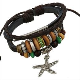 Wholesale New Arrival DIY Handmade Fashion Dangle Starfish Charm For Men Beaded Leather Bracelets Bangles Jewelry