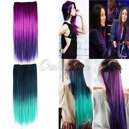 Wholesale 22 quot quot Fashion Multicolor Woman One Piece Clips Clip in Synthetic Straight Hair Extension JF