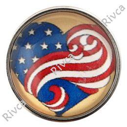 Wholesale D00896 newest noosa rivca chunk American flag button for bracelet jewelry