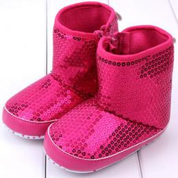 Wholesale-0-12M Winter Newborn Girls Zipper High Boots Shoes Sequins Anti Slip Baby Boots