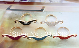 100PCS Fashion Mixed Colours Optional Enamel Mustache Finger Rings For Women Dress Brand Wedding Rings DIY Making Jewelry Bijoux M2347