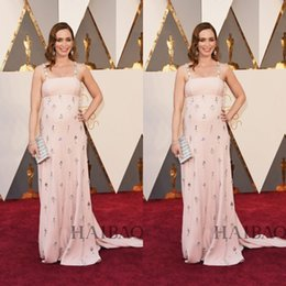 Canada 2016 Oscars Emily Blunt Spaghetti Bustier Robes Celebrity lourd cristal rose Soirée formelle Robes de bal Tapis rouge balayage train Offre