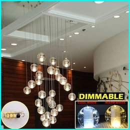 Wholesale LED Crystal Glass Chandeliers Pendant Lights for Stairs Duplex Hotel Hall Mall with Dimmable G4 Bulbs AC100 to V CE FCC ROHS DIY Lighting