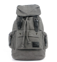 High Quality Vintage Men's Canvas Leather Hiking Travel Military Backpack Satchel School bag Luggage bags for business Travel Tour Trip